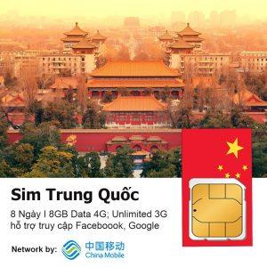 Sim du lich Trung Quoc 8 ngay 8 GB data