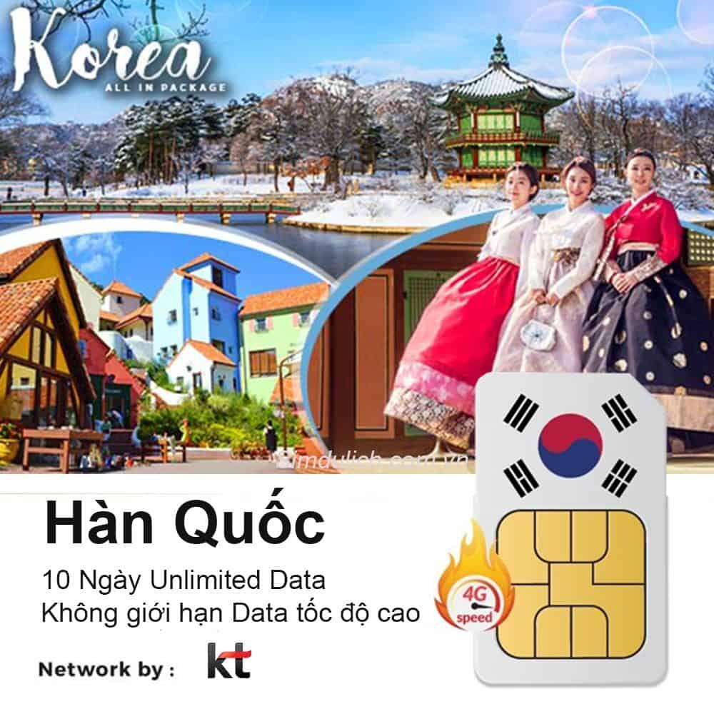 Sim 4G du lịch Hàn Quốc