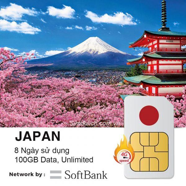 Sim Du Lịch Nhật Bản 8 Ngày 100GB