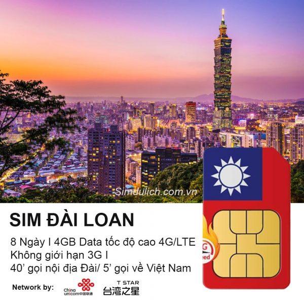 Sim du lich Dai Loan 8 Ngay