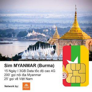 Sim du lich Myanmar 3GB co thoai
